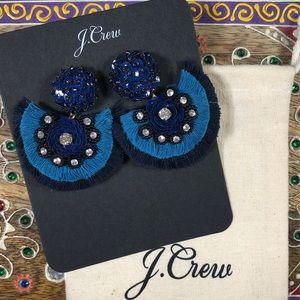 NEW J Crew Blue Embellished Statement Earr…